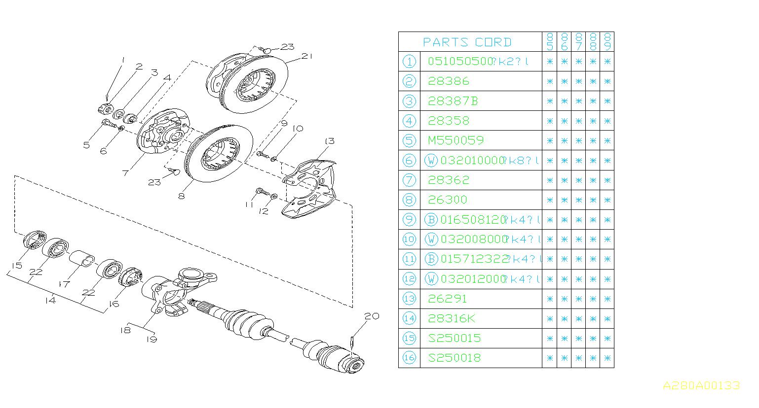 Subaru Dl Gl Gl10 Rs Rx Center Piece Axle Rear Disk
