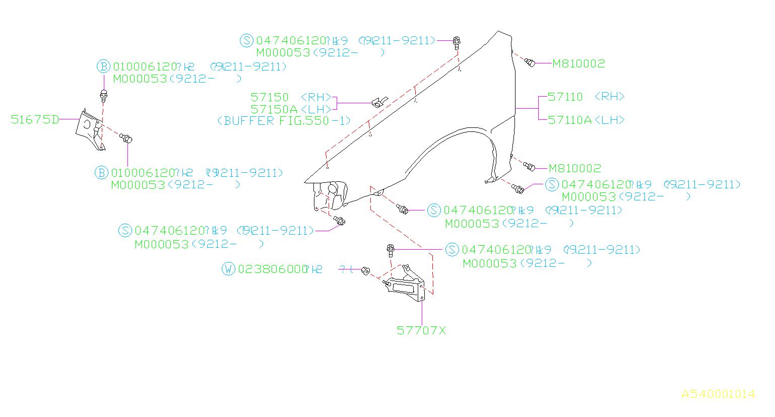 51625fa191 Subaru Bracket Complete Fender Side Right